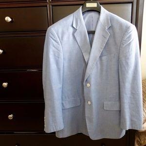 Nautica Mens Summer Blazer 40R Cotton Plaid black